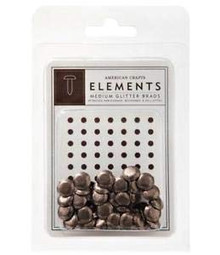 American Crafts Elements Medium Glitter Brads Chestnut