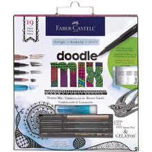 Faber Castell Mixed Media Doodle Art Kit with Gelatos, Pitt Artist Pens & Grap...