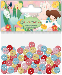 Santoro Kori Kumi II Mini Plastic Buttons 100/Pkg-Assorted Colors; 11mm, 8mm, 5mm