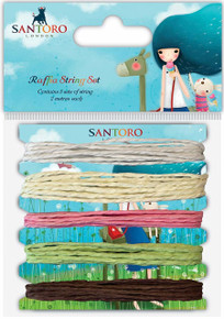 Santoro Kori Kumi II Raffia String 5/Pc-White, Cream, Pink, Green, Brown/2m Each