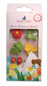 Santoro Kori Kumi II Mini Resin Flowers & Leaves 27/Pc-Assorted Colors, Designs & Sizes