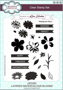 Creative Expressions Layered Watercolor Blooms Clear Stamp Set CEC892
