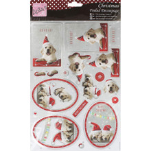 DOCrafts Anita's Chirstmas Festive Puppies Foiled Decoupage Sheet