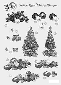 3D Craft Uk Baubles Tree Presents Black White Silver Foiled Die Cut Christmas Decoupage 637
