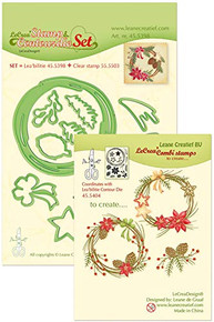 Leanne Creatif Stamp & Contour Die Set Christmas Wreath