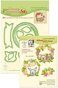 Leanne Creatif Stamp & Contour Die Set Wreath with Pets