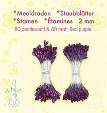 Leanne Creatief Red Purple Pearl Stamen. 80 Pearl and 80 matt Stamens