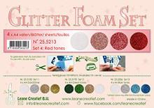 Leane Creatief Glitter Foam 4 A4 Sheets- Glitter Red Tones