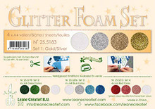 Leane Creatief Glitter Foam 4 A4 Sheets- Glitter Gold/Silver Tones