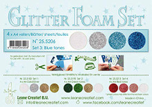 Leane Creatief Glitter Foam 4 A4 Sheets- Glitter BlueTones