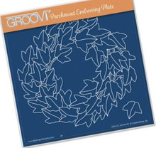 Groovi Parchment Embossing Plate - Ivy Wreath A5 Template - Laser Etched Acrylic for Parchment Craft