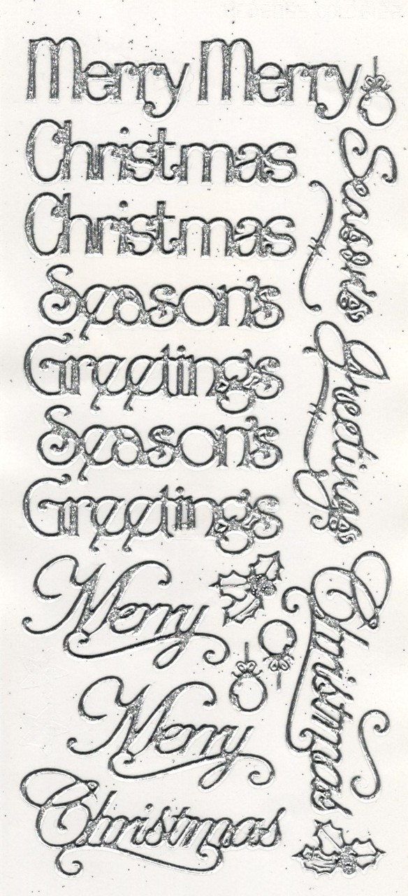 Embossed CHRISTMAS GREETINGS Peel Off Stickers Seasons Merry Gold or Silver