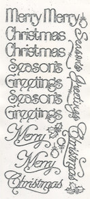 Hot Off the Press Dazzles 2 SHEETS SILVER Merry Merry Christmas Greetings Outline GS 2122