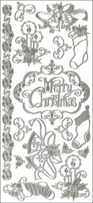 Hot Off The Press DAZ-2043 Dazzles Stickers-Silver Merry Christmas