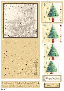Craft UK Die-Cut Concept Card Kit Decoupage Sheet Christmas Trees #941