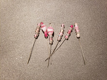 Bow Pins - Small - Pink and Crystal on 20ga Silver Pins P030