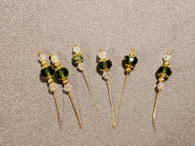 Bow Pins - Small - Green and Crystal on 20ga Silver Pins P029