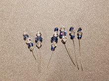 Bow Pins - Small - Blue and Crystal on 20ga Silver Pins P033
