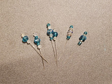 Bow Pins - Small - Teal and Crystal on 20ga Silver Pins P028