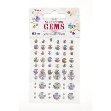 Darice Gems DIY Crafts Stick On Rhinestones Round Clear AB Assorted 69 pc