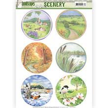 Jeanine's Art Landscapes Scenery 3D Pushout Sheet - Landscape Circle