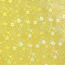 Sticky Back Holographic Paper - Gold Stars - 8.5 x 11 inches