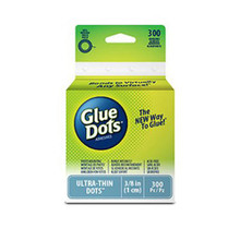 Glue Dots Clear Dot Roll, Ultra Thin .375' 300/Pkg
