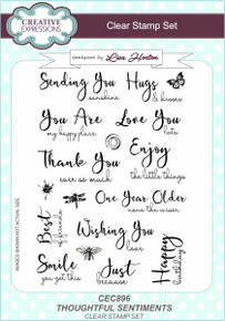 Creative Expressions A5 Clear Stamp Set - Thoughtful Sentiments CEC896