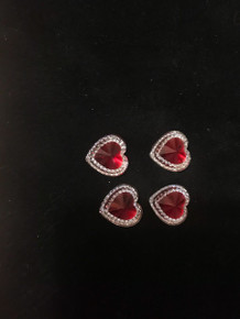 Multi Color Acrylic Rhinestones  - Red with Diamond Accents Hearts 12-pcs