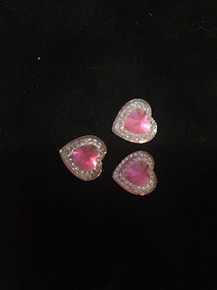 Multi Color Acrylic Rhinestones  - Pink with Diamond Accents Hearts 12-pcs