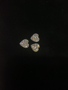 Acrylic Rhinestone Hearts Clear AB 12-pc