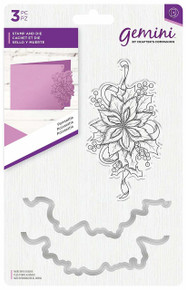 Gemini GEM-STD-POIN Poinsettia Stamp and Metal Die Set, Clear/Silver