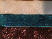 "Metallic Velvet Ribbon 1.5"" Wide Brown/ Turquoise/ Iridescent White -- 3 PC"