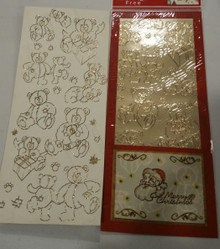 Sticker King Christmas Gold Foil Teddy Bears Outline Peel Sticker