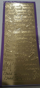Sticker King Gold Foil Best Wishes with Rose Accents Outline Peel Sticker