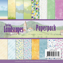 Find It Trading Jeanine's Art Paper Pack 6'X6' 23/Pkg-Spring Landscapes, Double-Sided Designs