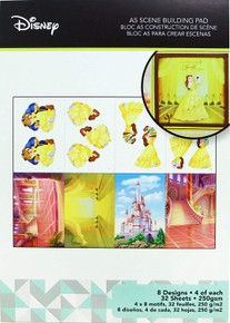 Character World Disney A5 Scene Building Pad 32 Sheets-Belle, 8 Designs/4 Each