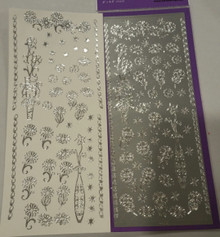 Sticker King  Silver Daisy Vases Outline Peel Sticker Accents and Borders
