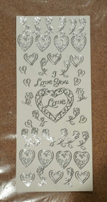 Sticker King  Silver Hearts & Flowers Outline Peel Sticker Accents