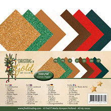 Find It Trading Christmas in Gold Linen and Glitter Stack AD-A5-10020