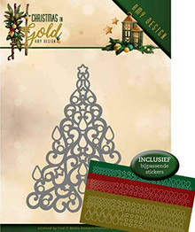 Find It Trading Amy Design Christmas in Gold Christmas Tree Hubbydots Die and Sticker Set ADD10182