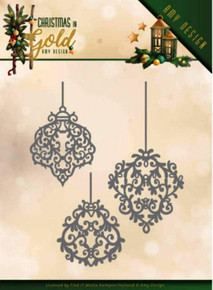 Find It Die - Amy Design - Christmas in Gold - Golden Ornaments - 10.5 x 11.5 cm ADD10184