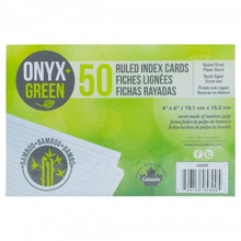 "Oynx+Green 50 Pack 4"" x 6"" Ruled Bamboo Paper Index Cards"
