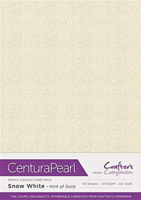 Crafter's Companion Centural Pearl A4 10 pc-Snow White Hint of Gold