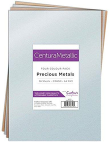 Crafter's Companion Centura Pearl Metallic 36 Sheet Card Pack, Precious Metals