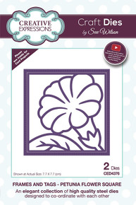 Sue Wilson Designs - Frames and Tags Collection - Petunia Flower Square (CED4376)