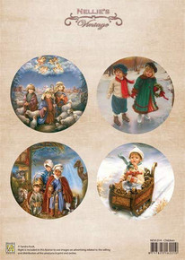 Nellie's Vintage Prints-Christmas Colour Vintage Children NEVI014