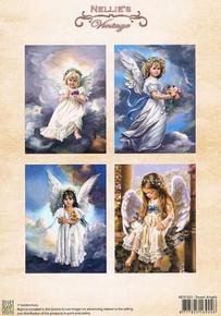 Nellie's Vintage Prints-Christmas Colour Sweet Angels NEVI031
