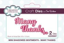 Sue Wilson Designs - Mini Shadowed Sentiments -Many Thanks (CEDSS007)