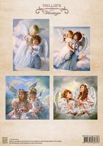 Nellie's Vintage Prints-Christmas Colour Angel Friends NEVI035
